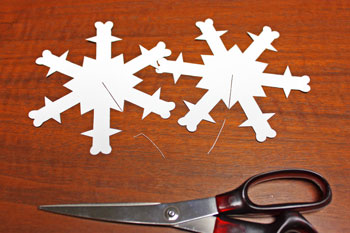 3D Paper Snowflake step 2 cut on dotted line