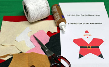 5 Point Star Santa Ornament materials and tools