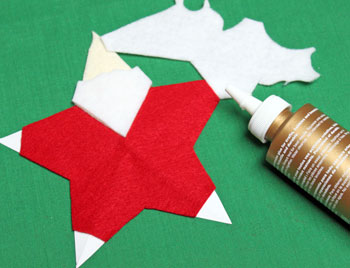 5 Point Star Santa Ornament step 12 glue hands