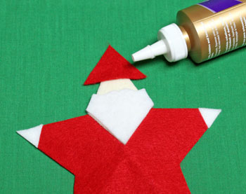5 Point Star Santa Ornament step 13 glue hat