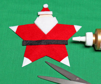 5 Point Star Santa Ornament step 16 cut and glue belt
