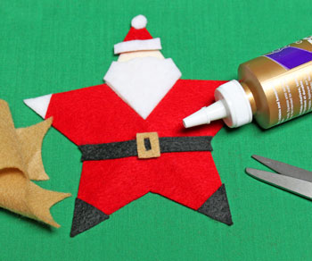 5 Point Star Santa Ornament step 19 cut and glue belt buckle