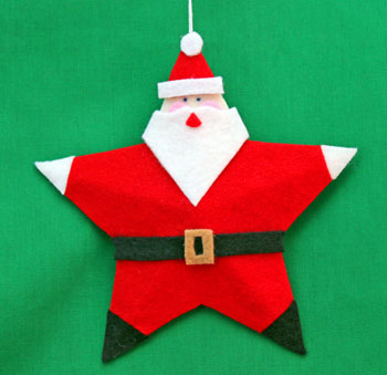 5 Point Star Santa Ornament step 25 hang to display