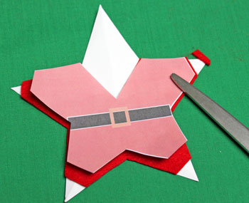 5 Point Star Santa Ornament step 6 trim hands and feet