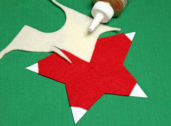 5 Point Star Santa Ornament step 8 glue head