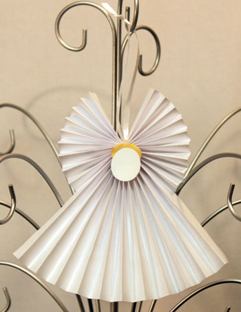 Easy Angel Crafts Accordian Folded Paper Ornament Finished White