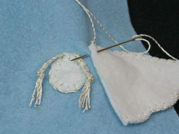 Easy Angel Crafts Angel Gift Bag sew the wing shape along the straight edge to the bag