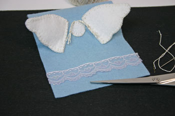 Easy Angel Crafts Angel Gift Bag finish attaching second wing