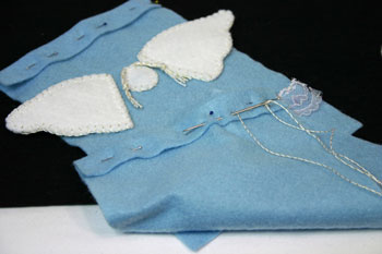Easy Angel Crafts Angel Gift Bag pin and sew casing at top of bag