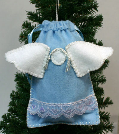 Easy Angel Crafts Angel Gift Bag hanging on tree