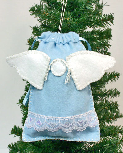 Easy Angel Crafts Angel Gift Bag finished bag hanging on tree