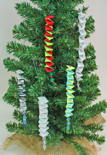 Catstep Braid and Bead Ornament showing five finished
