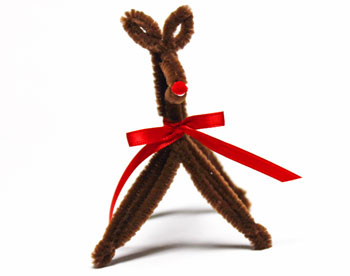 Chenille Wire Reindeer step 24 glue nose