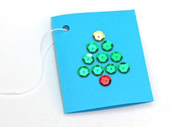 Christmas Tree Gift Tag finished with green sequins