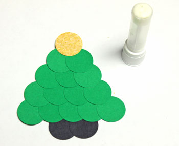 Circles Christmas Tree Ornament step 6 glue front tree topper