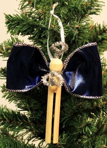 Easy Angel Crafts Clothespin Angel Ornament finished blue and silver angel