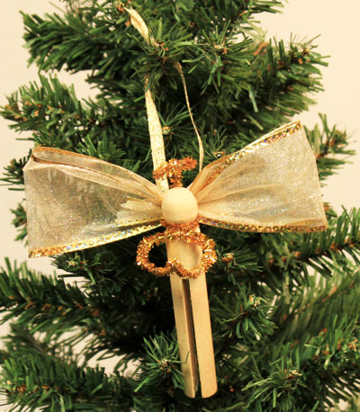 Easy Angel Crafts Clothespin Angel Ornament finished gold angel