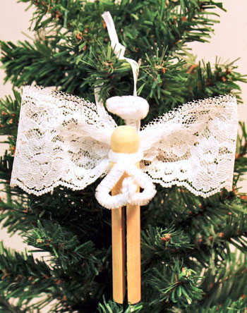 Easy Angel Crafts Clothespin Angel Ornament finished white lace angel