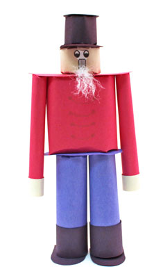Construction Paper Nutcracker Doll finished and proudly standing tall