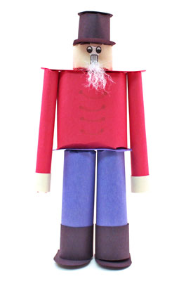 Construction Paper Nutcracker Doll finished and standing on guard