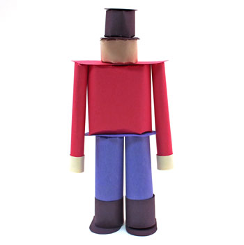 Construction Paper Nutcracker Doll step 15 standing without face