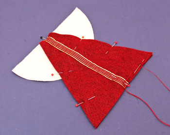Easy Angel Crafts Felt Triangle Angel step 3 pin felt together with wings