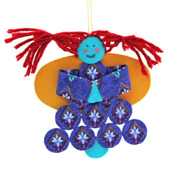 Easy Angel Crafts Yo Yo Angel Ornament finished and hanging by her loop