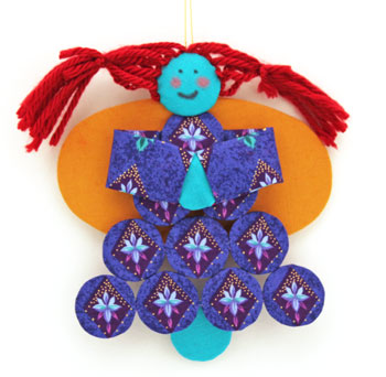 Easy Angel Crafts Yo Yo Angel Ornament finished and hanging as decoration