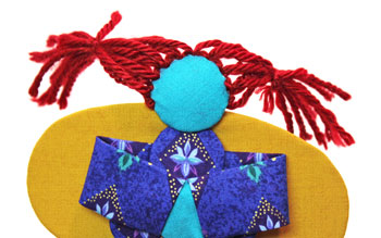 Easy Angel Crafts Yo Yo Angel Ornament step 24 tie yarn hair