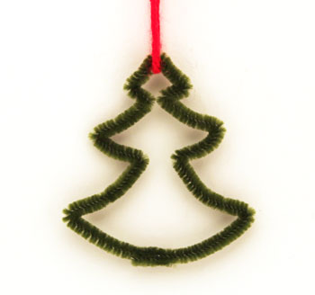 Easy Christmas Crafts Chenille Stem Christmas Tree finished olive green with red yarn