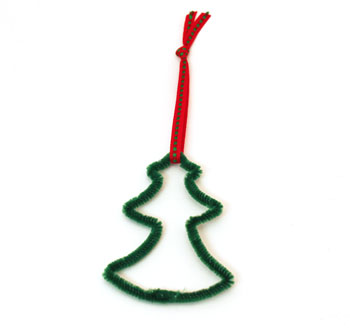 Easy Christmas Crafts Chenille Stem Christmas Tree step 10 add ribbon to the top of the tree