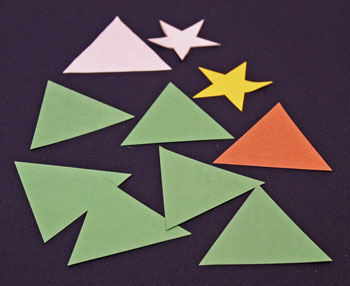 Easy Christmas Crafts Construction Paper Triangles Christmas Tree step 1 cut shapes