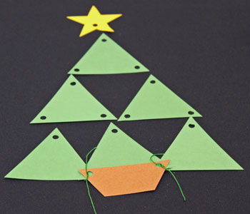 Easy Christmas Crafts Construction Paper Triangles Christmas Tree step 6 begin tying pieces together