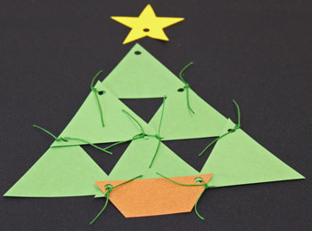 Easy Christmas Crafts Construction Paper Triangles Christmas Tree step 7 finish tying triangles together
