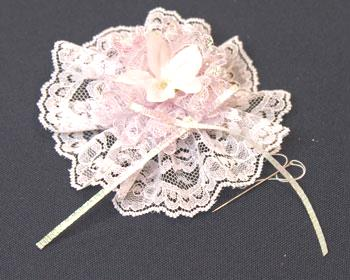 Easy Christmas Crafts Lace Flower Ornament step 13 attach embellishments