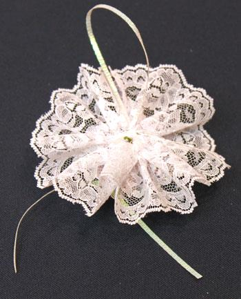 Easy Christmas Crafts Lace Flower Ornament step 15 attach loop to back