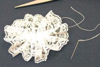 Easy Christmas Crafts Lace Flower Ornament step 5 secure gathered lace