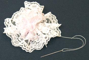 Easy Christmas Crafts Lace Flower Ornament step 9 attach narrow lace over large lace