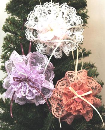 Easy Christmas Crafts Lace Flower Ornament three finished hanging on tree