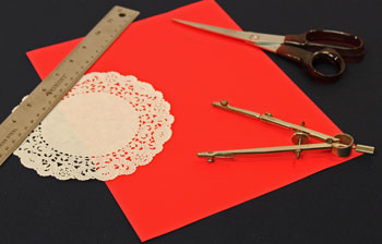Easy Christmas Crafts Paper Doily Folded Christmas Tree Ornament version 2 step 1 measure, draw and cut circle