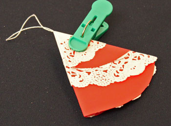 Easy Christmas Crafts Paper Doily Folded Christmas Tree Ornament version 2 step 8 hold for glue to dry