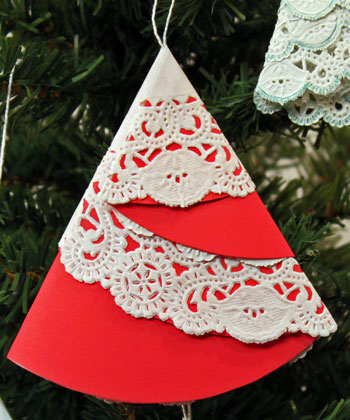 Easy Christmas Crafts Paper Doily Folded Christmas Tree Ornament version 2 step 9 hang on tree