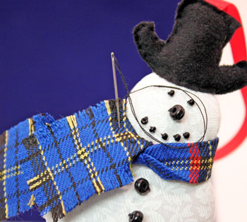 Easy Christmas Crafts Snowman step 22 attach scarf