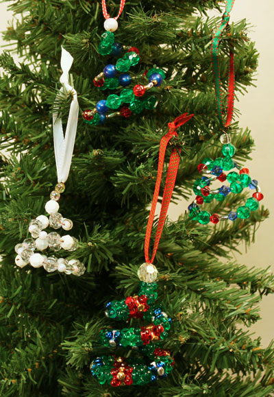Beaded Christmas Ornaments.Funezcrafts Easy Christmas Crafts Spiral Beaded Christmas
