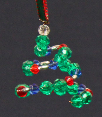 Easy Christmas Crafts Spiral Beaded Christmas Ornament red green and blue beads