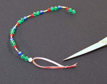 Easy Christmas Crafts Spiral Beaded Christmas Ornament Step 9 add ribbon loop