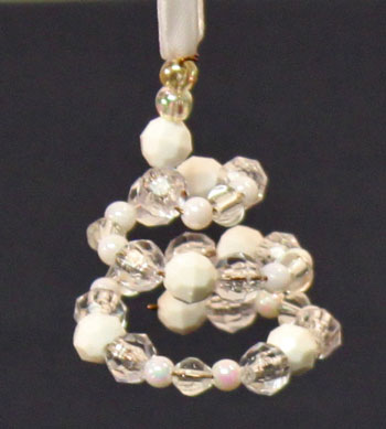 Easy Christmas Crafts Spiral Beaded Christmas Ornament white and clear beads