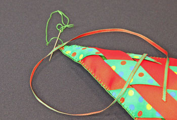 Easy Christmas Crafts Woven Ribbon Christmas Tree Door Hanger step 18 attach ribbon for hanger
