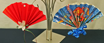 Easy Christmas Crafts Construction Paper Fan Ornament two finished using wrapping paper