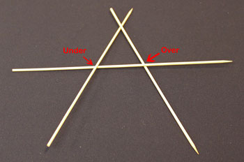 Easy Christmas Crafts Five Point Wooden Star step 3 add third skewer across the first two